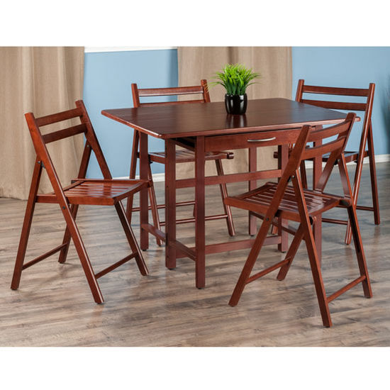 "Winsome Wood Taylor Collection 5-Piece Set Drop Leaf Table w/ 4 Folding Chairs in Walnut, 41-47/64"" W x 30-1/2"" D x 29-1/8"" H"