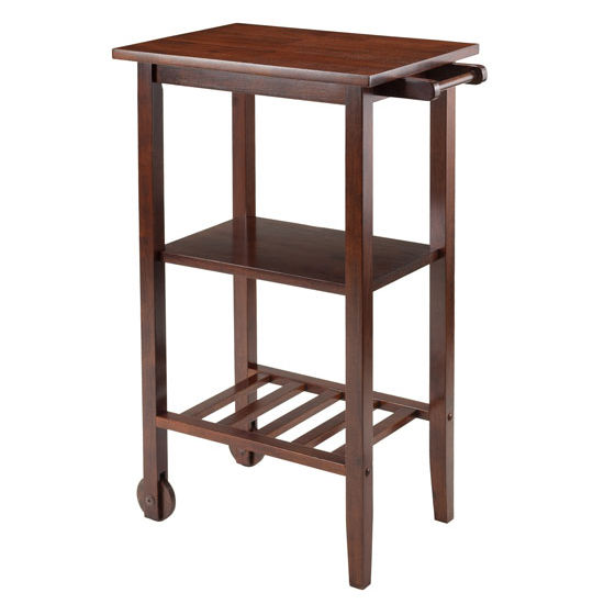 stevenson kitchen cart with 2 wood wheels by winsome wood