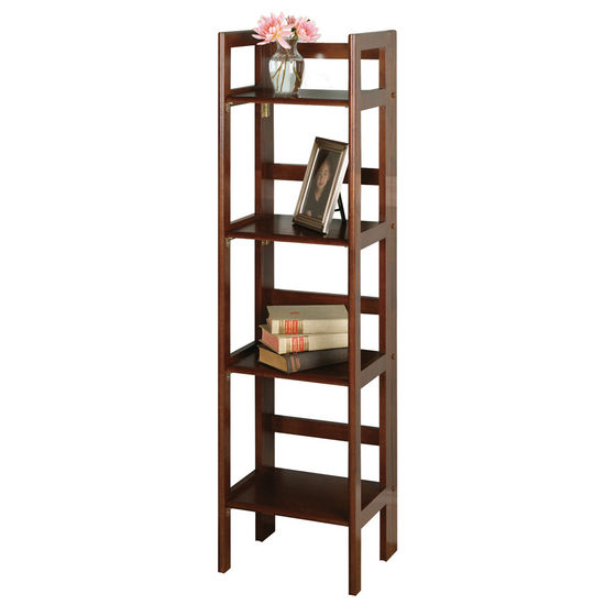 Winsome Wood Folding 4-Tier Shelf, Antique Walnut Finish