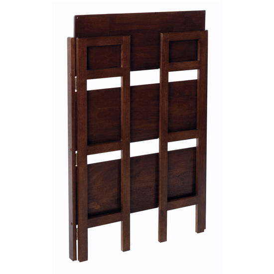 Shelves 28 Inch Wide Beechwood Three Tier Folding Shelf With Antique Walnut Finish By Winsome