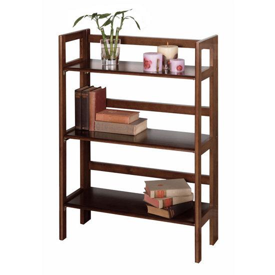 Shelves 28 Inch Wide Beechwood Three Tier Folding Shelf