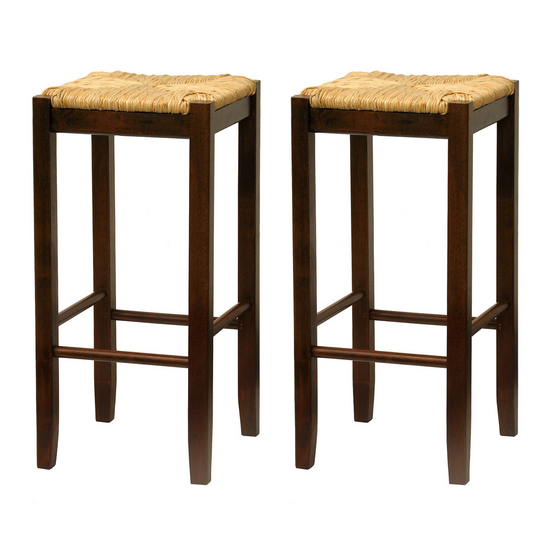 "Winsome Wood 30"" Bar Stool with Woven Rush Seat and Walnut Finish"