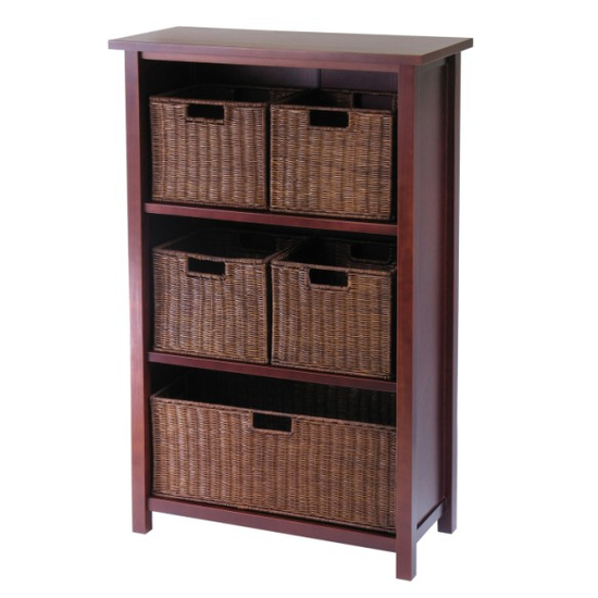 Winsome Wood Milan 6Pc Cabinet/Shelf with Baskets