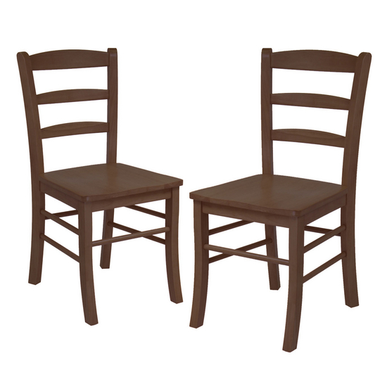 Winsome Wood Ladder Back Chair, Set of 2, Antique Walnut
