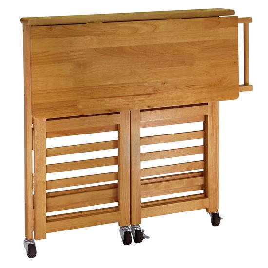 Foldable Kitchen Cart Knife Block Oak Finish By Winsome