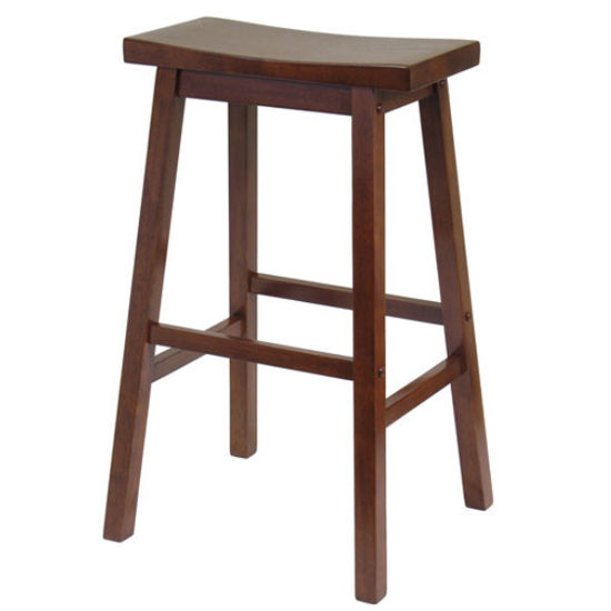 "Winsome - 29"" Saddle Seat Bar Stool, Walnut"