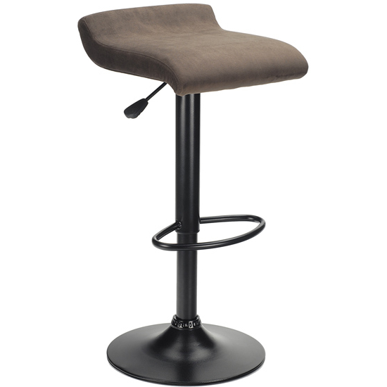 Winsome - Marni Air Lift Stool, Micro Fiber Brown Fabric w/Black Base