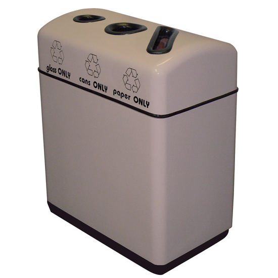 "Witt Fiberglass 3-Opening Recycling Container, with Plastic Liners, 33 Gallons, 36"" W x 16"" D x 31"" H, Available in Multiple Finishes"