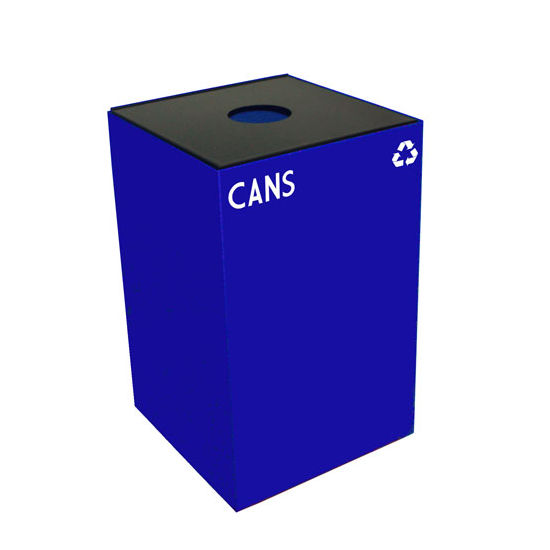 Witt 24 Gallon Geocube Indoor Recycling Container, Round Opening with Cans & Bottles Decals, Blue