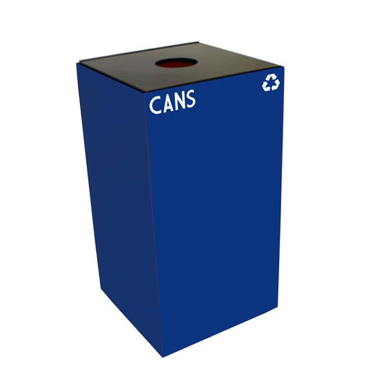 Witt 28 Gallon Geocube Indoor Recycling Container, Round Opening with Cans & Bottles Decals, Blue