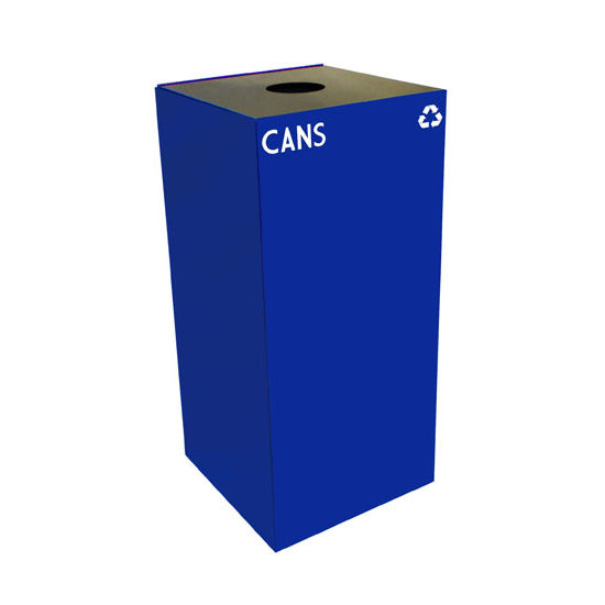 Witt 32 Gallon Geocube Indoor Recycling Container, Round Opening with Cans & Bottles Decals, Blue