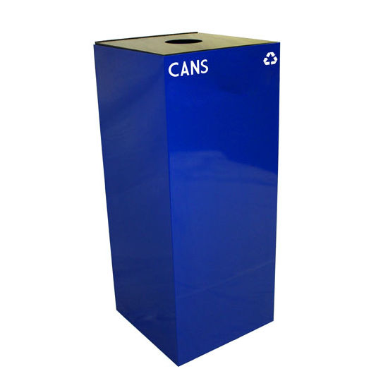 Witt 36 Gallon Geocube Indoor Recycling Container, Round Opening with Cans & Bottles Decals, Blue