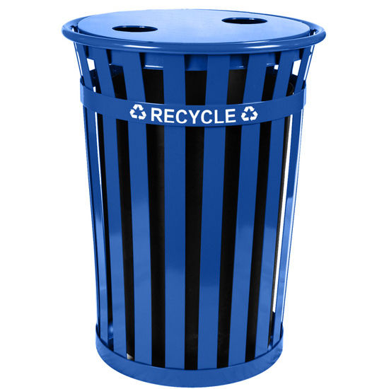 Oakley Slatted Metal Recycling Receptacle with Flat Top