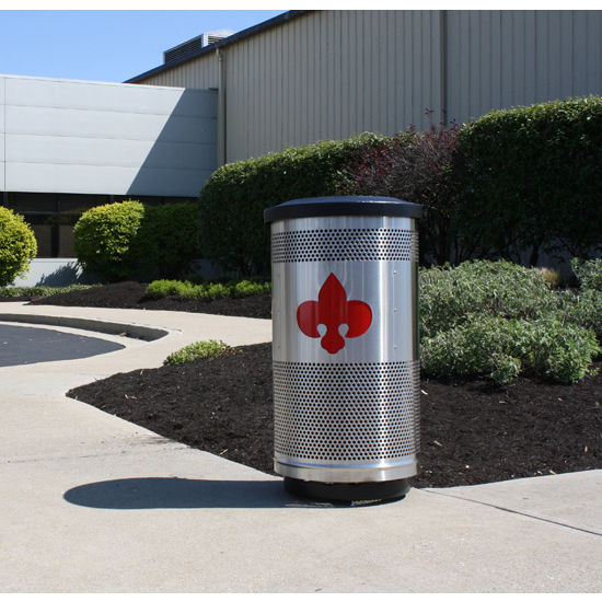 Witt - 35 Gal. Custom Logo Unit with Flat Top Lid with Plastic Liner
