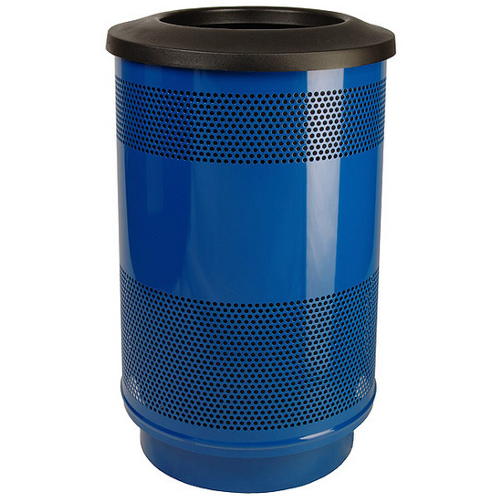 Stadium Series Perforated Metal Trash Can