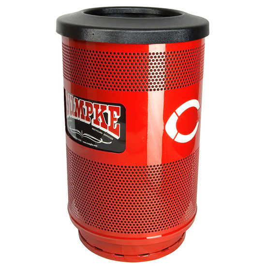 Stadium Series Perforated Metal Message Center Trash Can