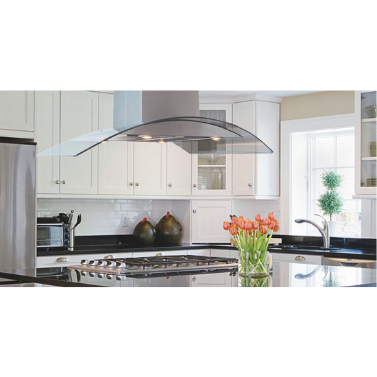 "Windster Island Series Range Hood 36""W or 42"" W, Short DC, 600 CFM, Brushed Stainless Steel"