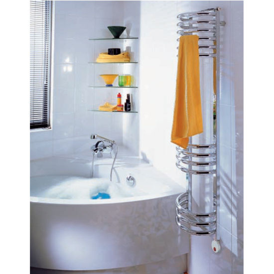 "Zehnder Art Deco Electric Towel Radiator, 1538 BTU, 12-5/8""W x 8-1/2""D x 55-1/4""H,"